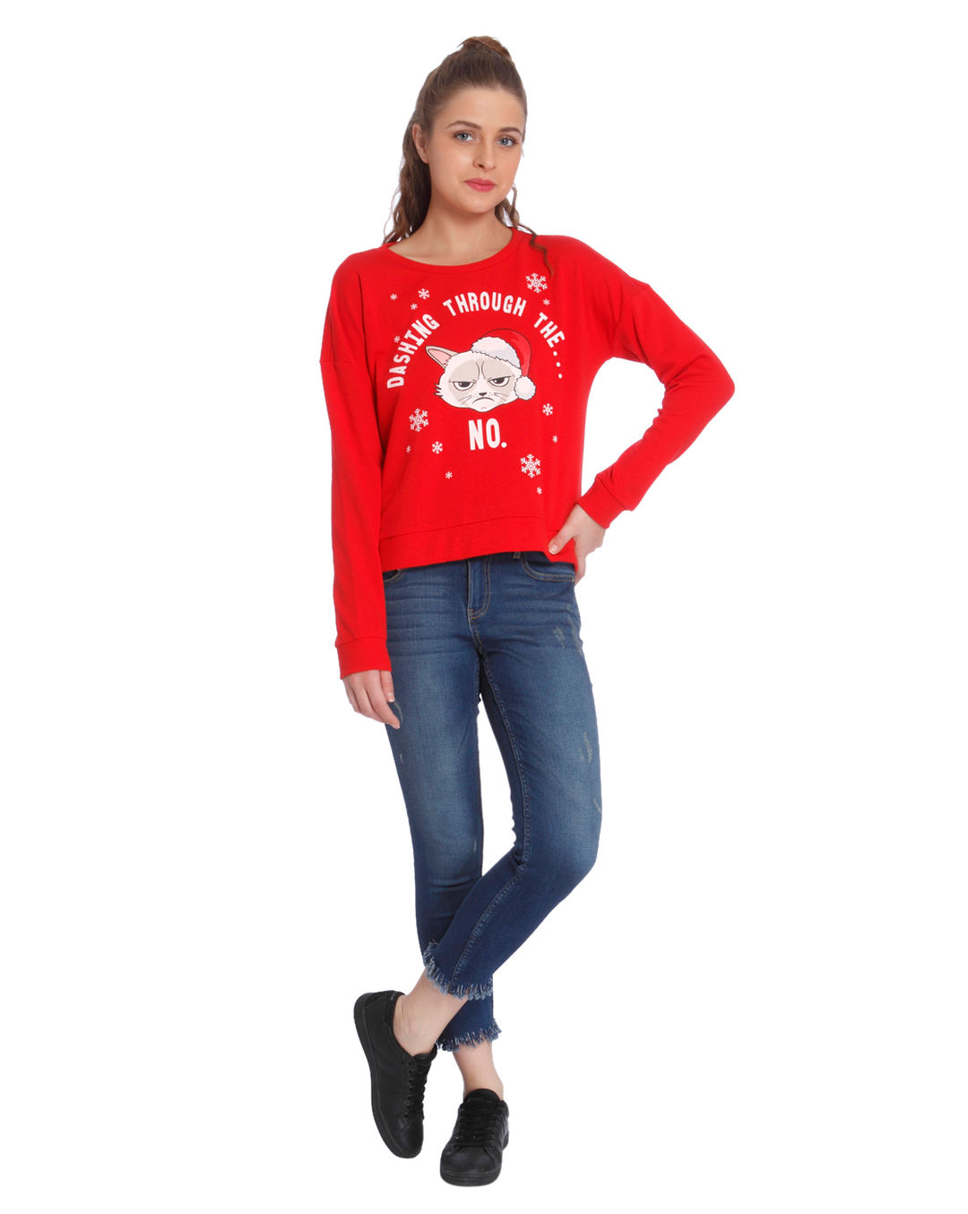 2 Person Christmas Sweater.Printed Casual Christmas Sweater