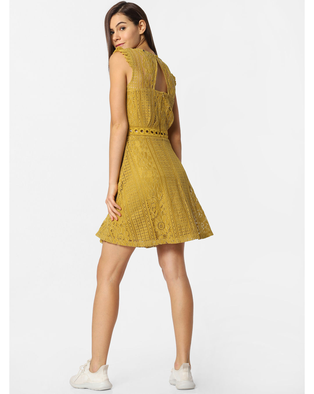 Buy Girls Mustard Lace Skater Dress Online Only