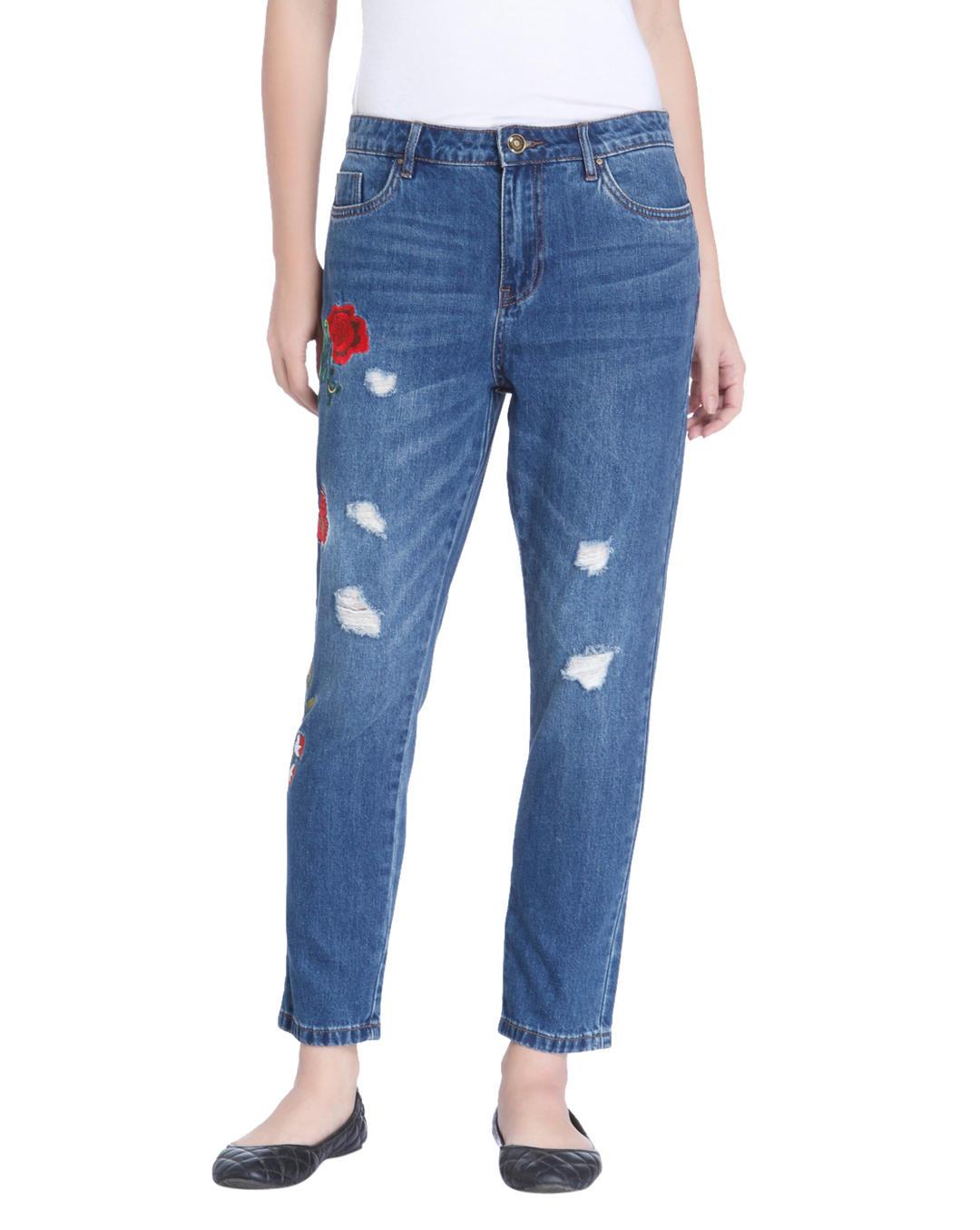 Kauf authentisch gesamte Sammlung laest technology Buy ONLY Blue Floral Print Boyfriend Jeans Online   ONLY