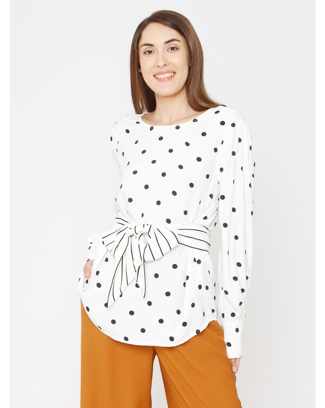 White Polka Dot Print Knot Detail Top