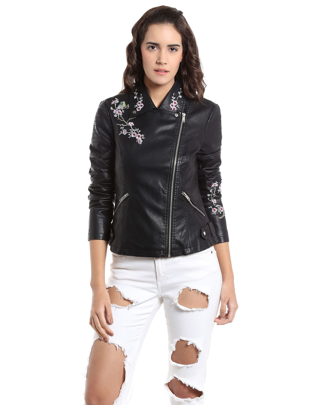 7dc9d1de6 Buy Vero Moda Black Embroidered Cropped Biker Jacket Online   Vero Moda