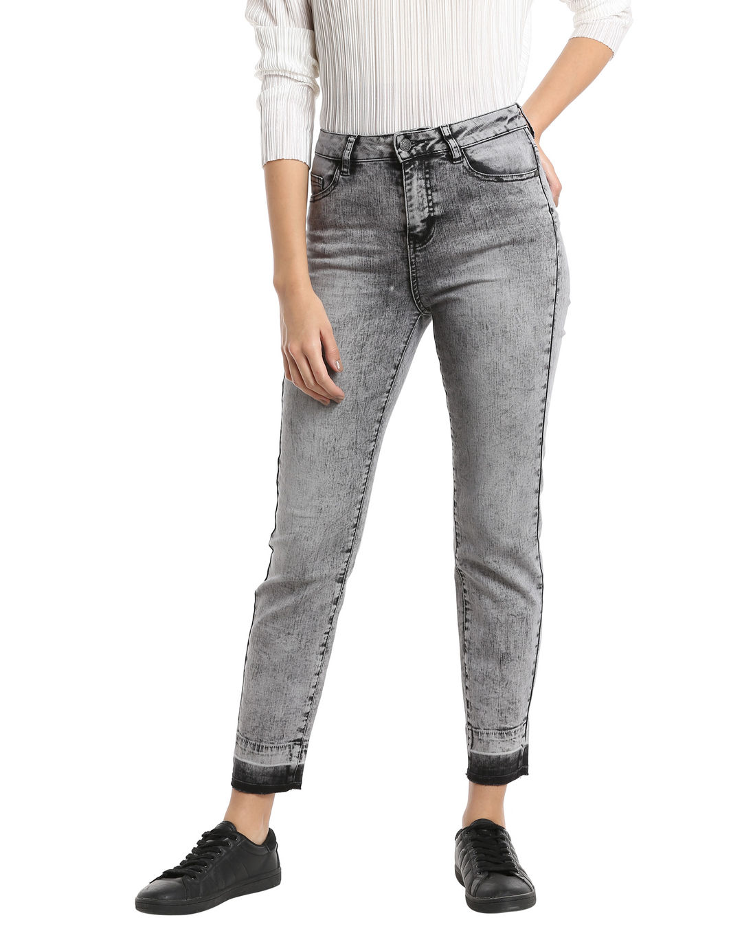 sports shoes eb346 f7d5f Buy Vero Moda Grey High Waisted Ankle Length Slim Jeans ...