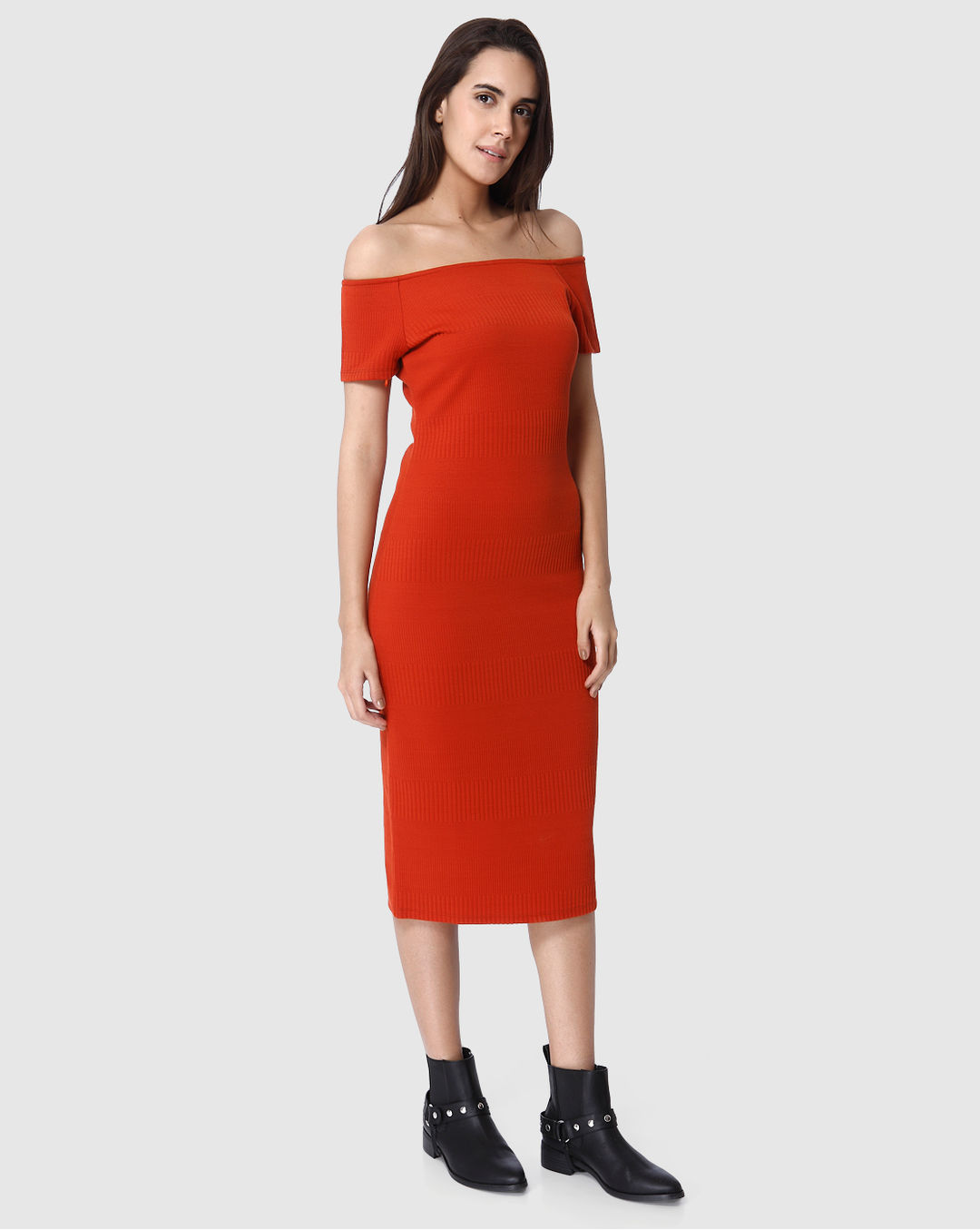 the latest 6c9e7 743a4 Buy Vero Moda Red Off Shoulder Bodycon Midi Dress Online ...