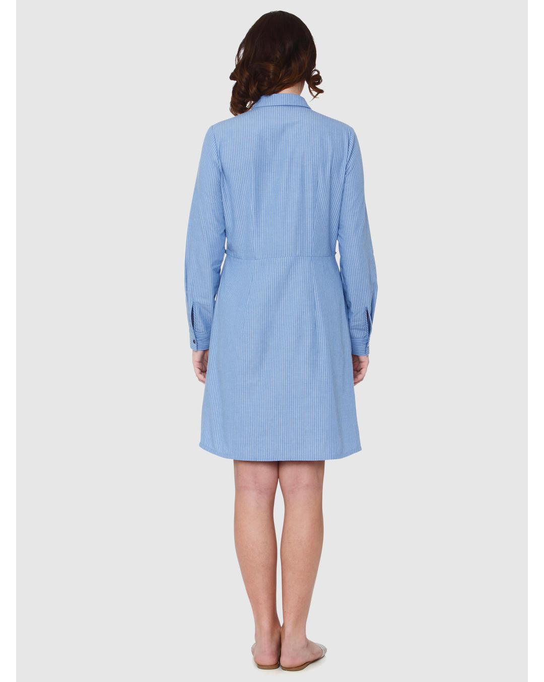 e814247ab Buy Vero Moda Blue Striped Frill Detail Shirt Dress Online | Vero Moda