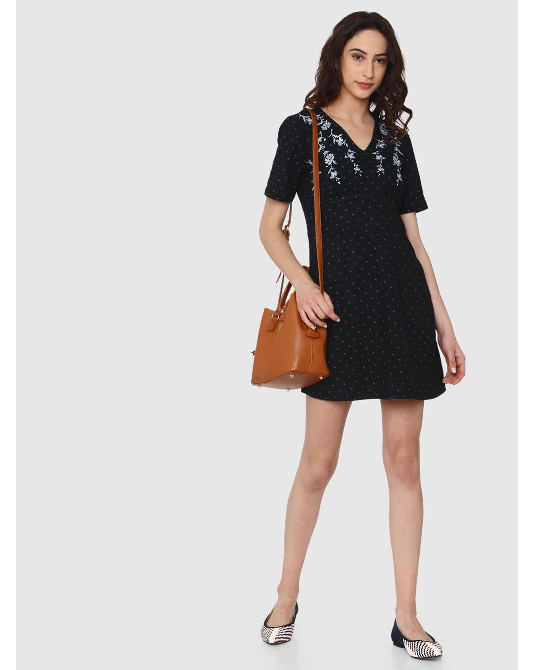 Buy Vero Moda Dark Blue All Over Polka Dot Floral Embroidery