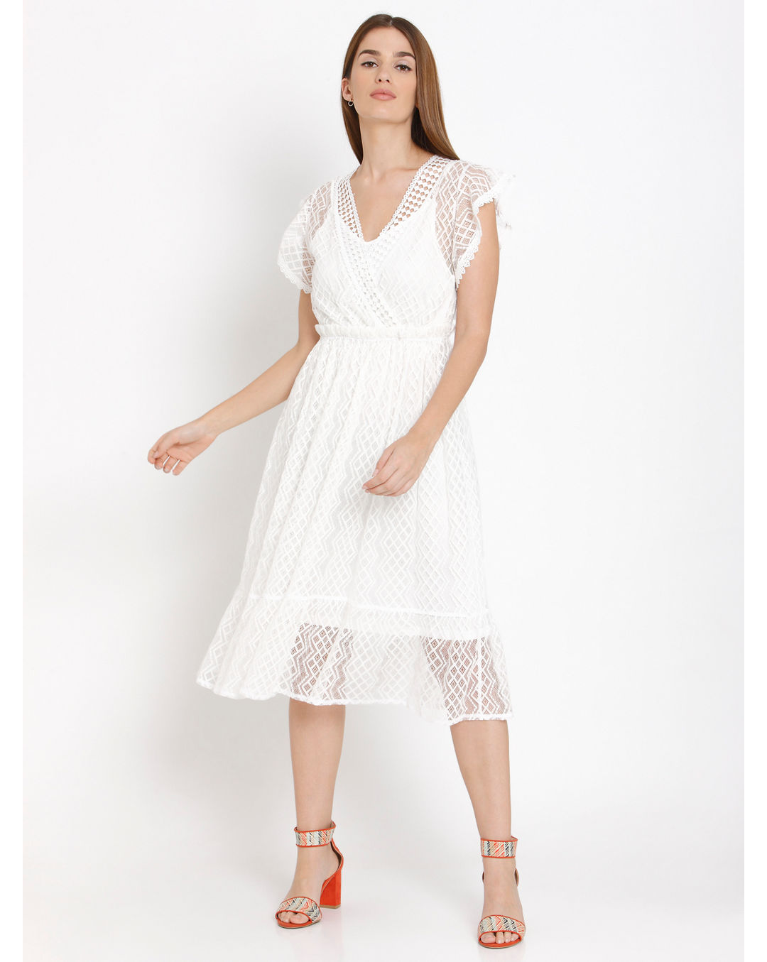 ac4cd6ac35675 Buy Vero Moda White Cut Work Lace Midi Dress Online | Vero Moda