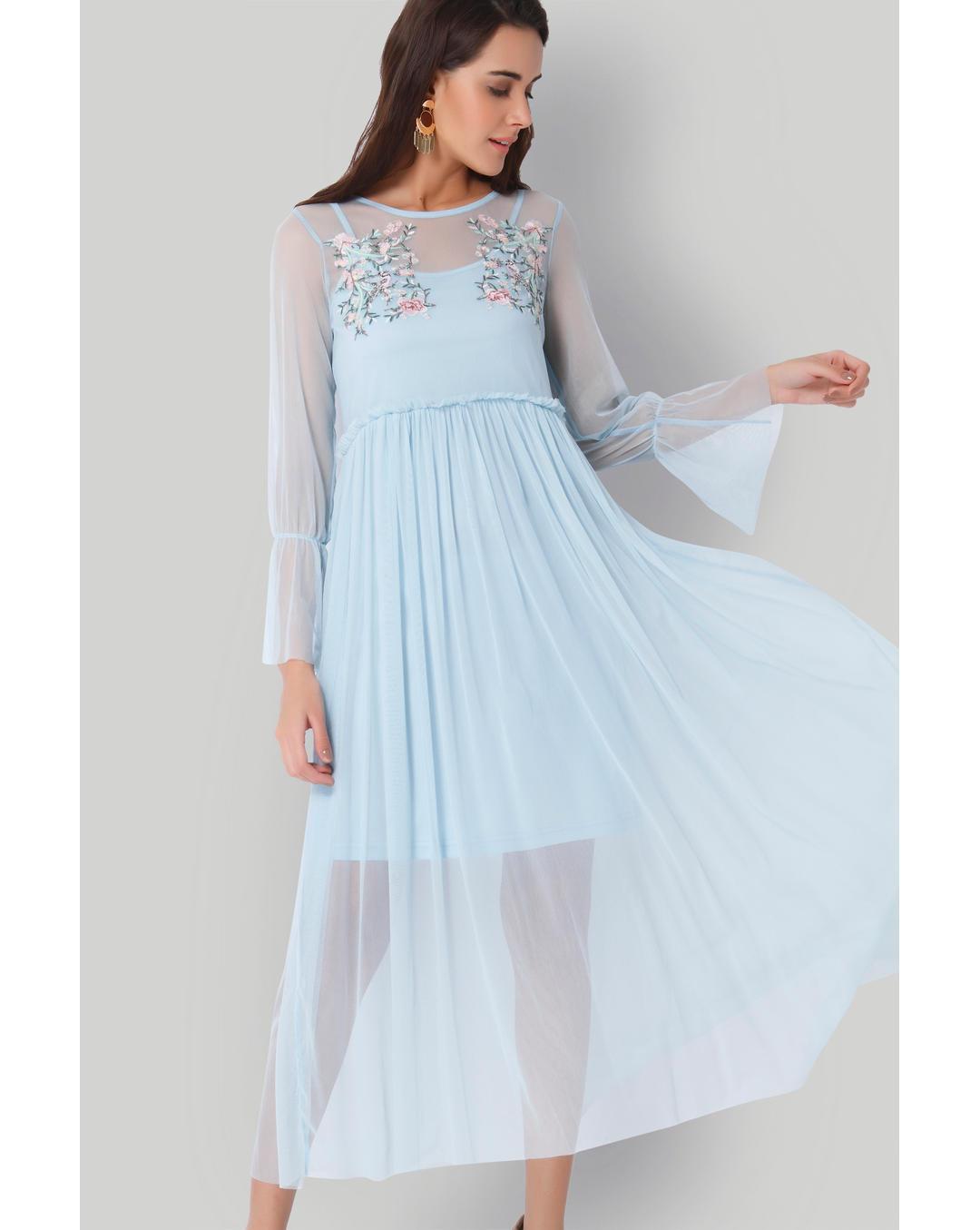 70292e5cbd Buy Vero Moda Light Blue Floral Embroidered Net Midi Dress Online ...