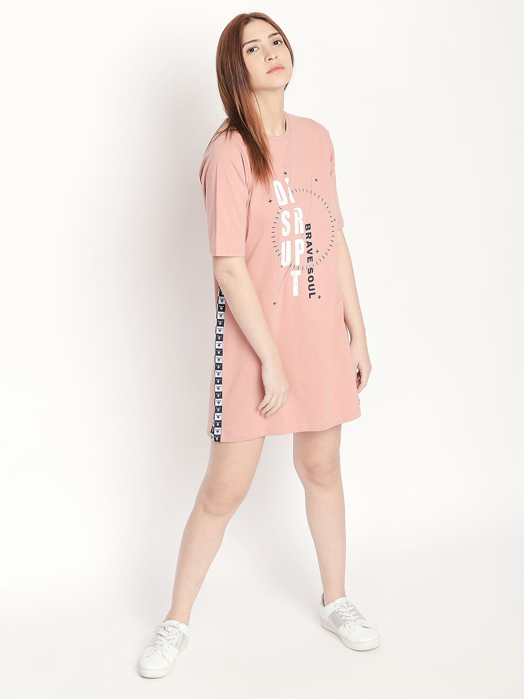Disrupt Rose Pink Elbow Cotton Dress For Women'S