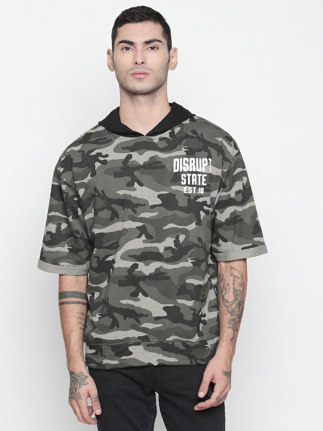 Disrupt Camo Hooded Roll-up Sleeve Pullover For Men