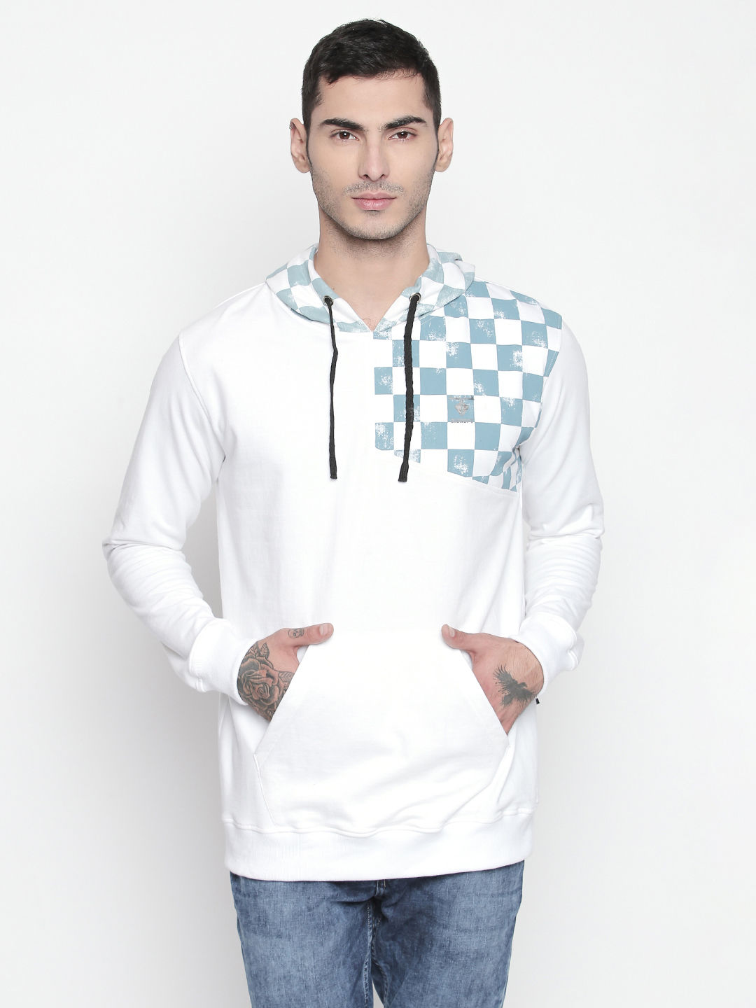 Disrupt White Hooded Full Sleeve Pullover For Men