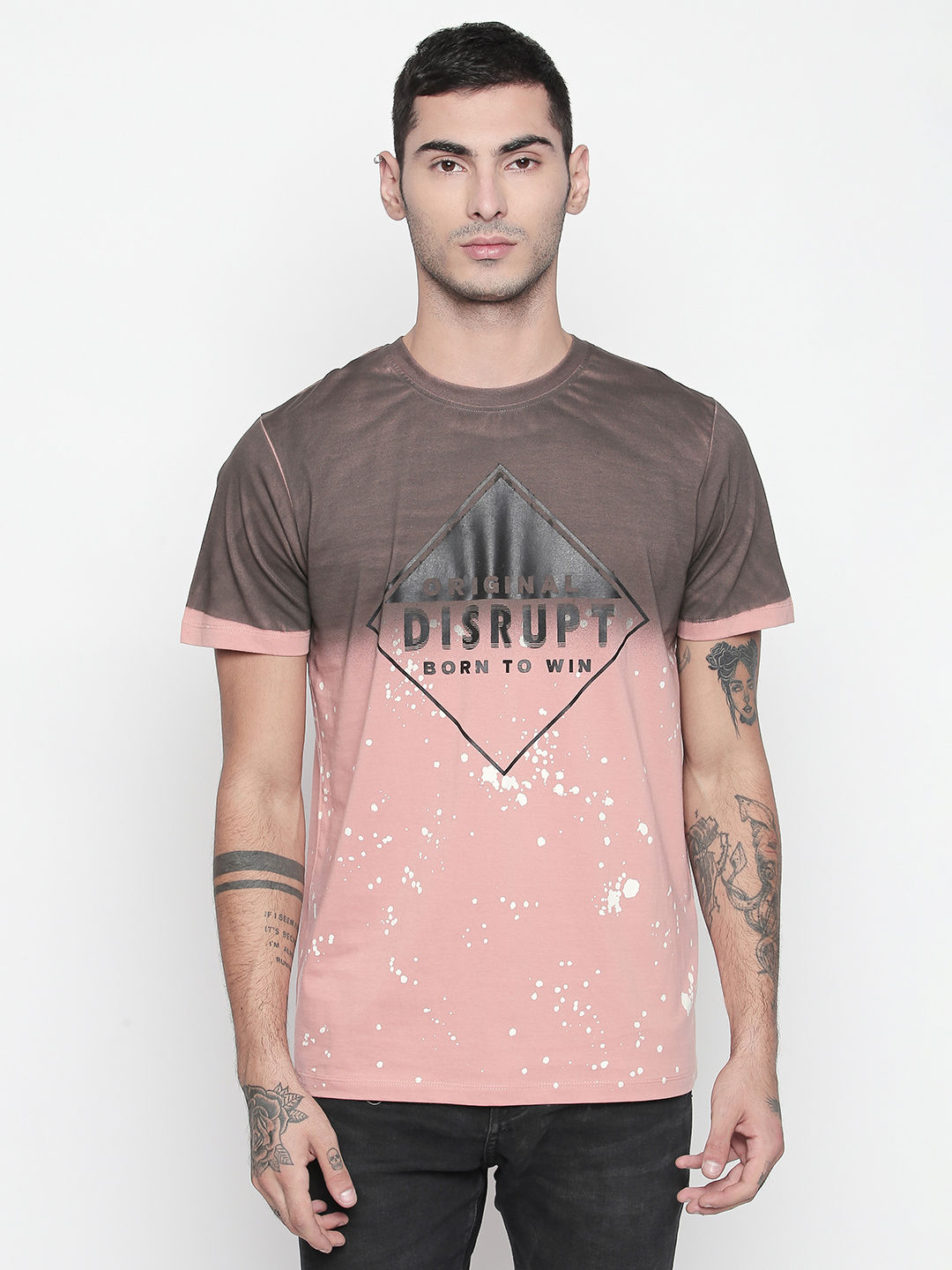Disrupt Rose Pink Round Neck Half Sleeve T-shirt For Men