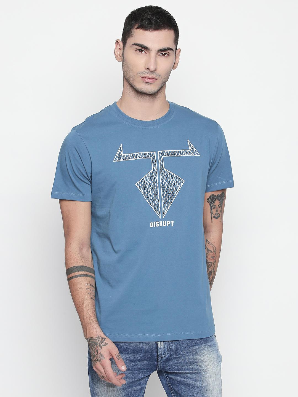 Disrupt Medium Blue Round Neck Half Sleeve T-shirt For Men