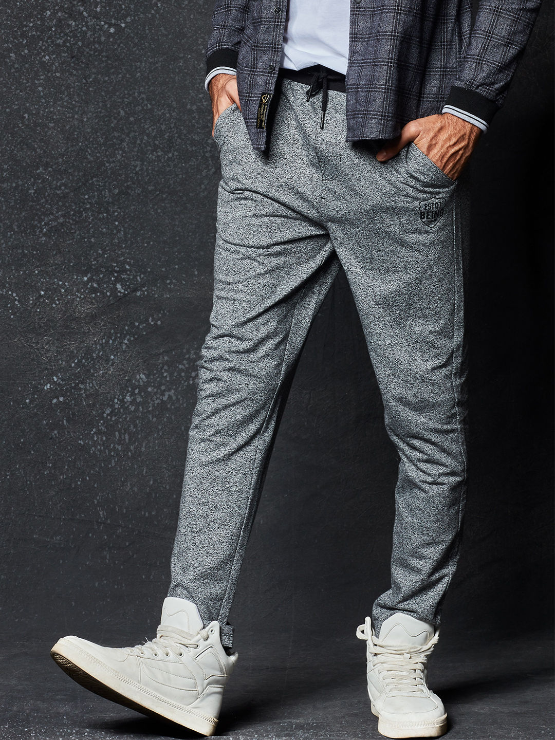 BLACK AND GREY MELANGE TRACKPANTS