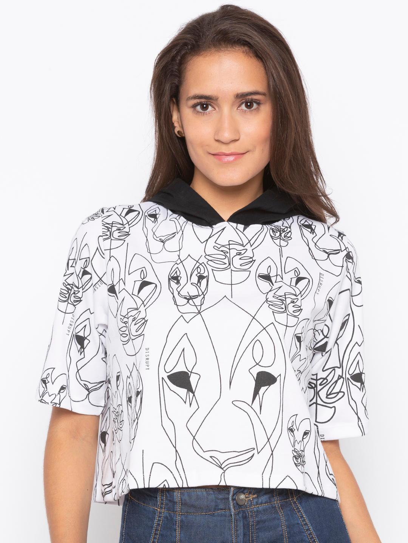 Disrupt White Animal Print Hoodie For Women's