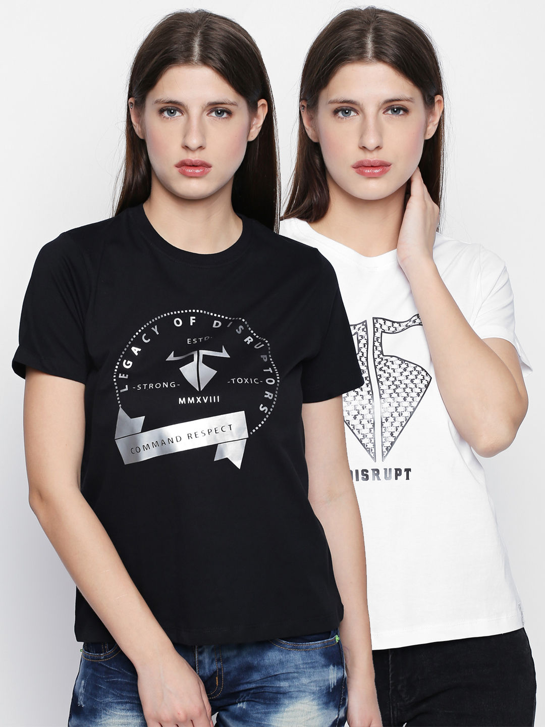 Disrupt Cotton Graphic Print Half Sleeve T-Shirt For Women's