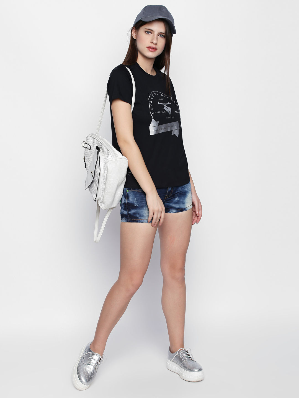 Disrupt Black Cotton Graphic Print Half Sleeve T-Shirt For Women's