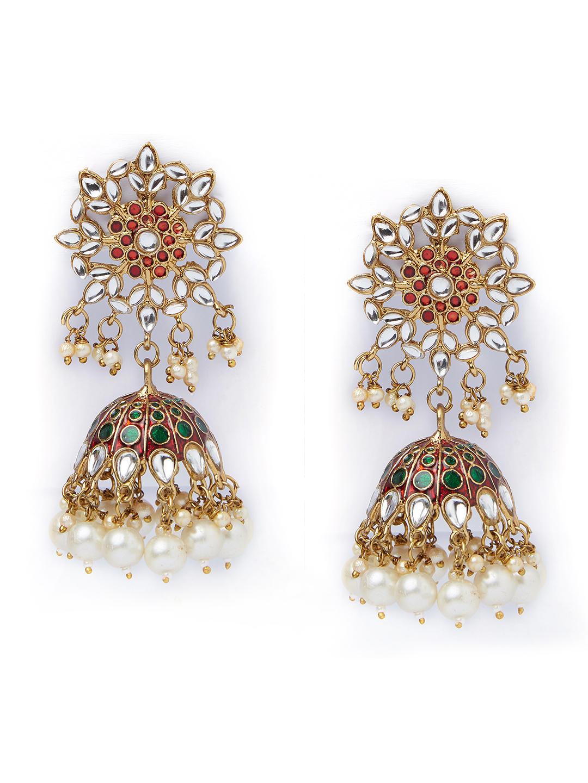Enamel Kundan Chandbali Pachi Kundan Earrings Jhumka Green Jhumka Gold Pearl earrings Green Enamel Jhumka Kundan Earrings