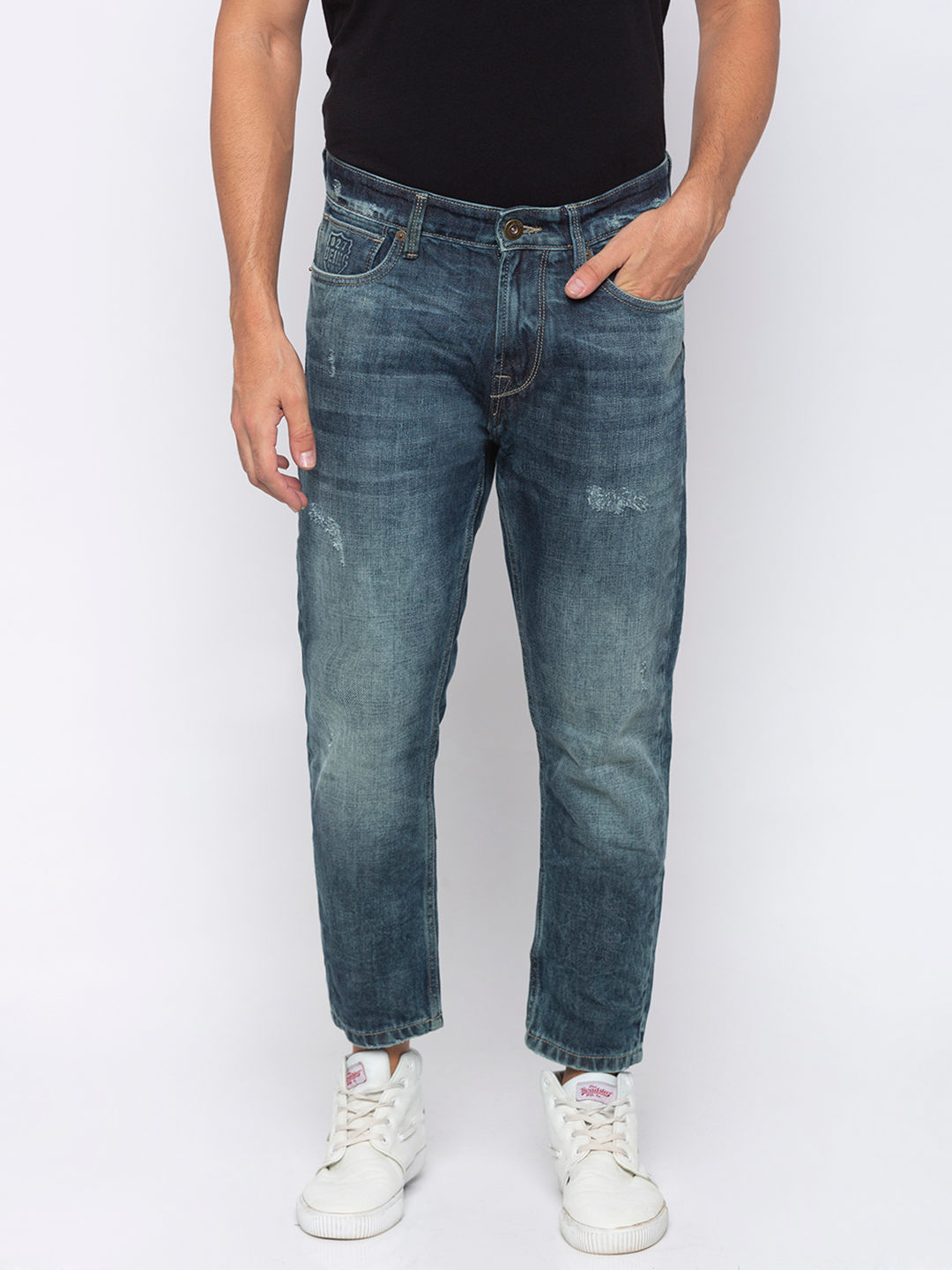 Men's blue Tapered Cropped Washed Jeans