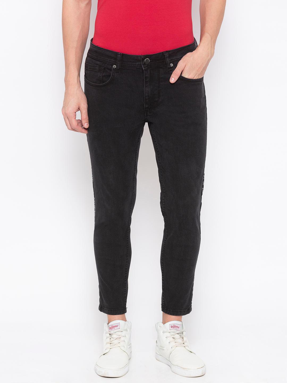 Men's Black skinny Cropped Fit Jeans