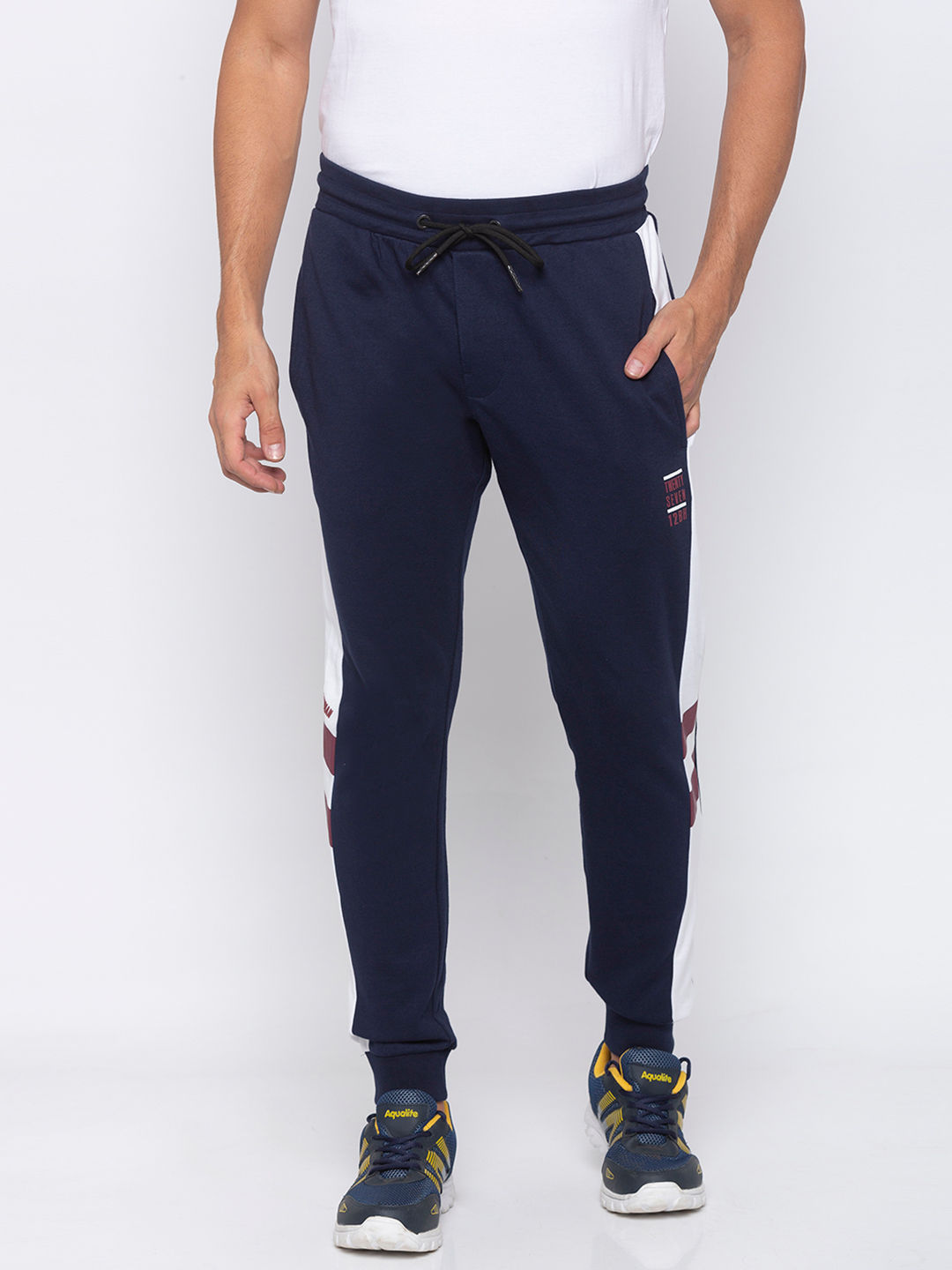 MENS TRACK PANT REGULAR FIT WITH CONTRAST SIDE PANEL