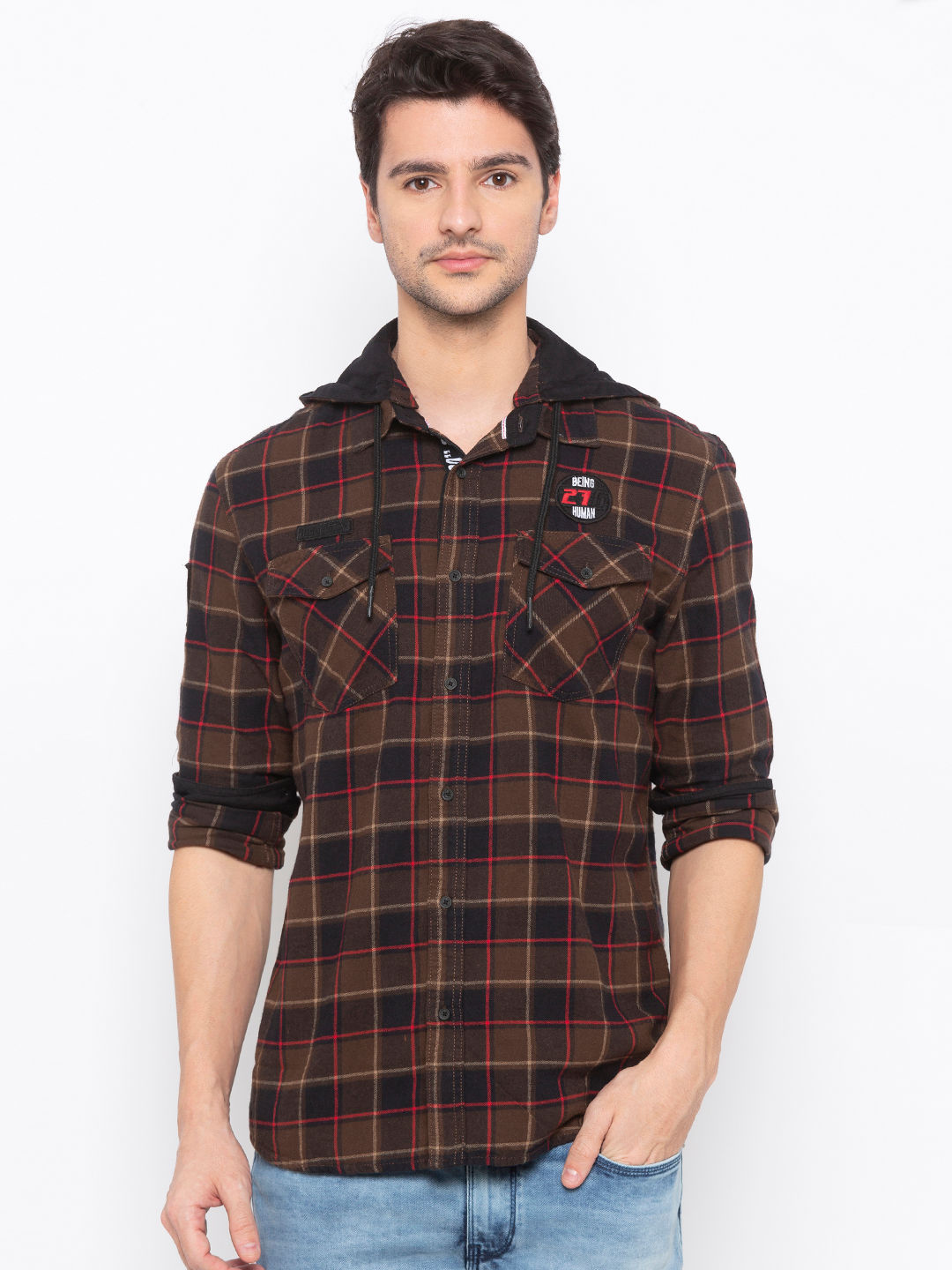 Men's Brown checks  Long sleeve over Fit shirt with Hood