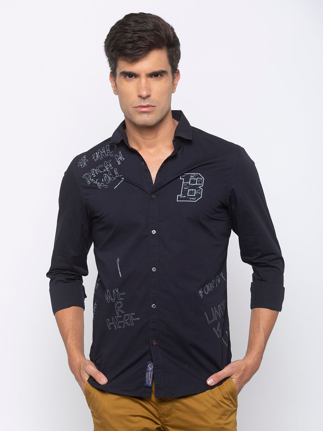 Men's Navy long sleeve slim fit shirt