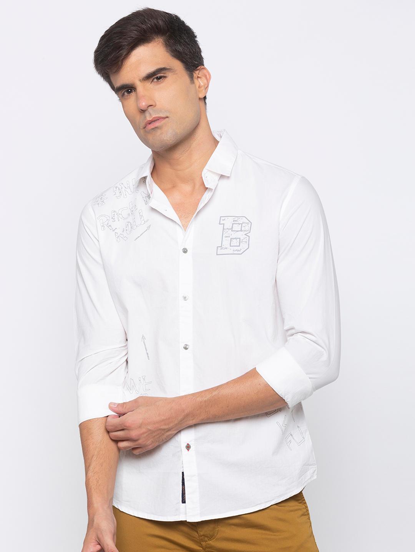 Men's white Long sleeve slim fit shirt