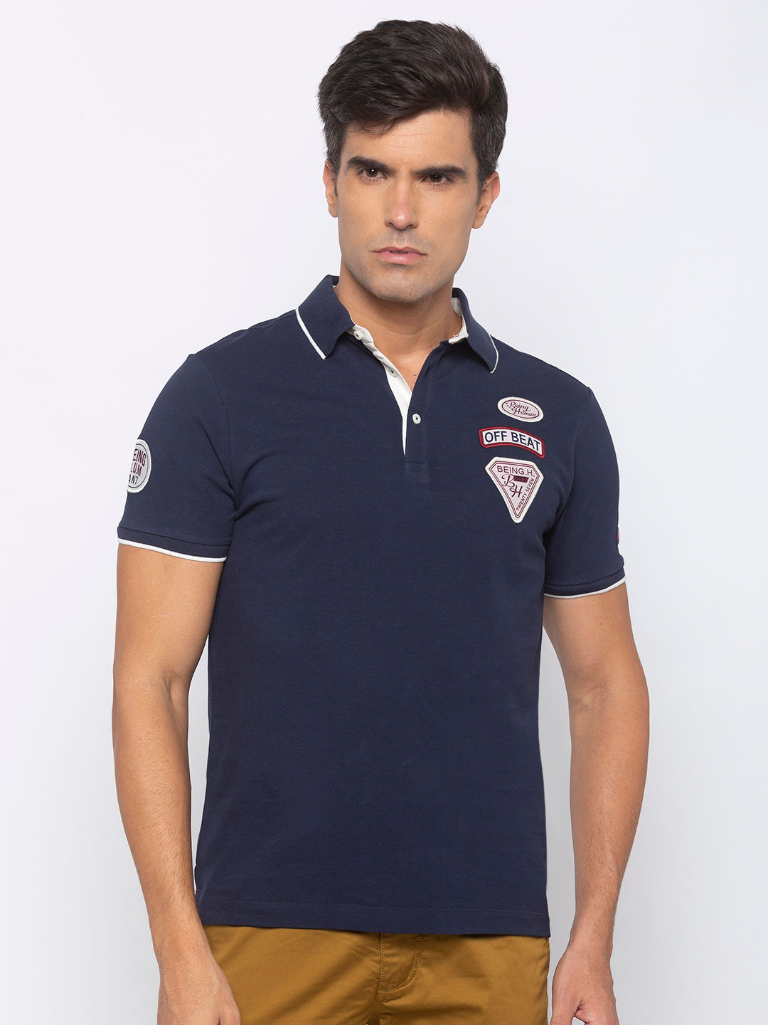mens short sleeve polo with embroidery badge