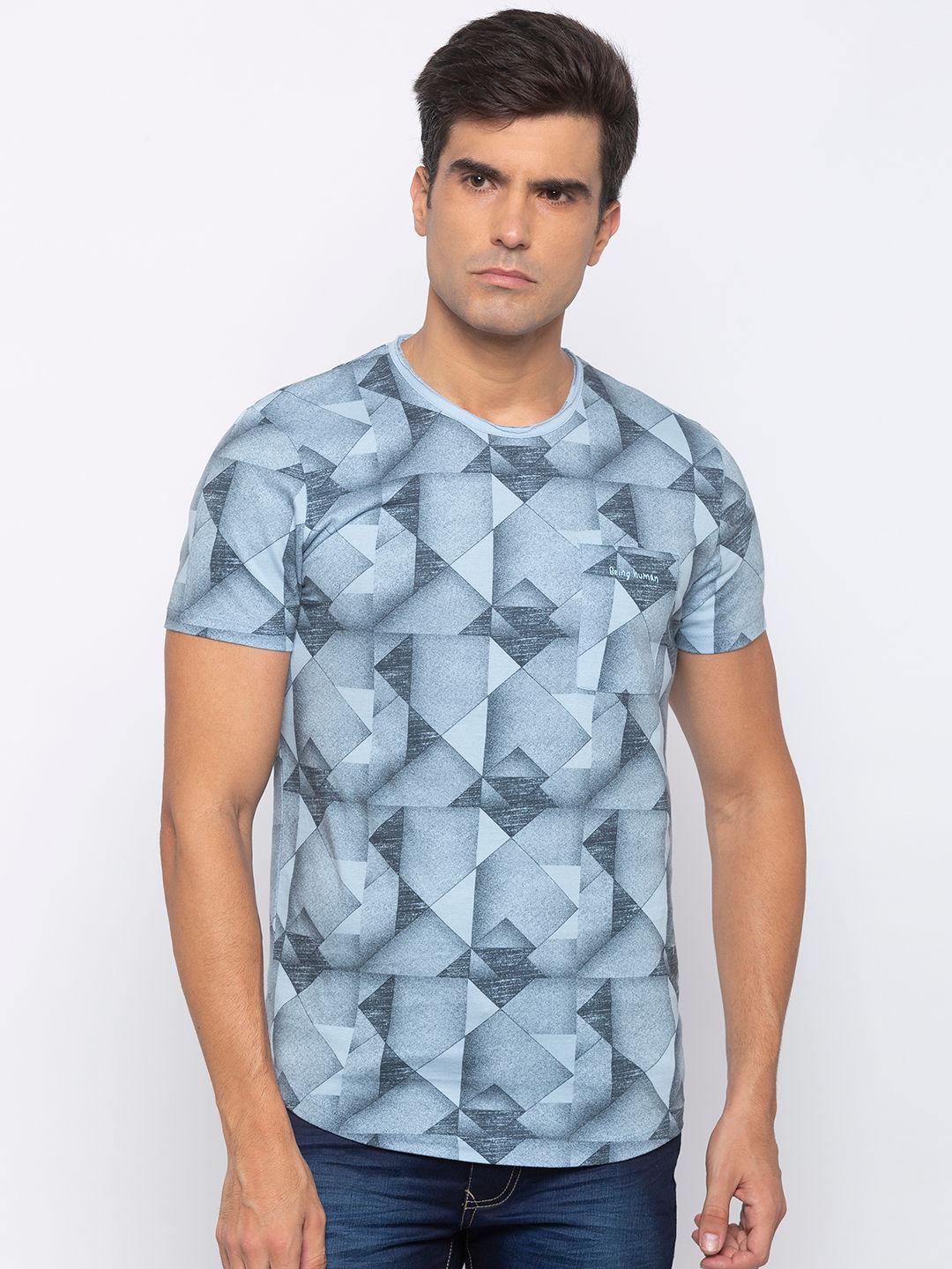 Mens Short Sleeve Crew Neck T-shirt with all over print