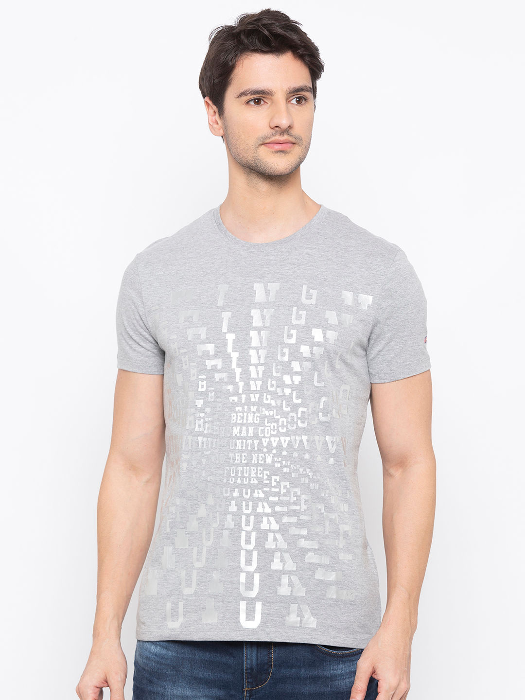 Mens Short Sleeve Crew Neck T-shirt with foil print