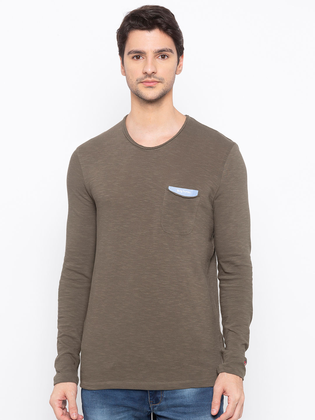 Mens Long Sleeve Crew Neck T-shirt with HD Print