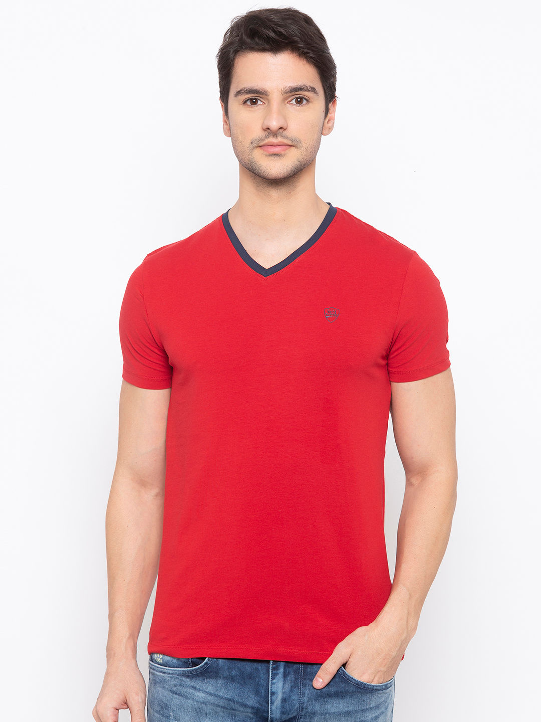 Mens Short Sleeve V Neck with HD Print