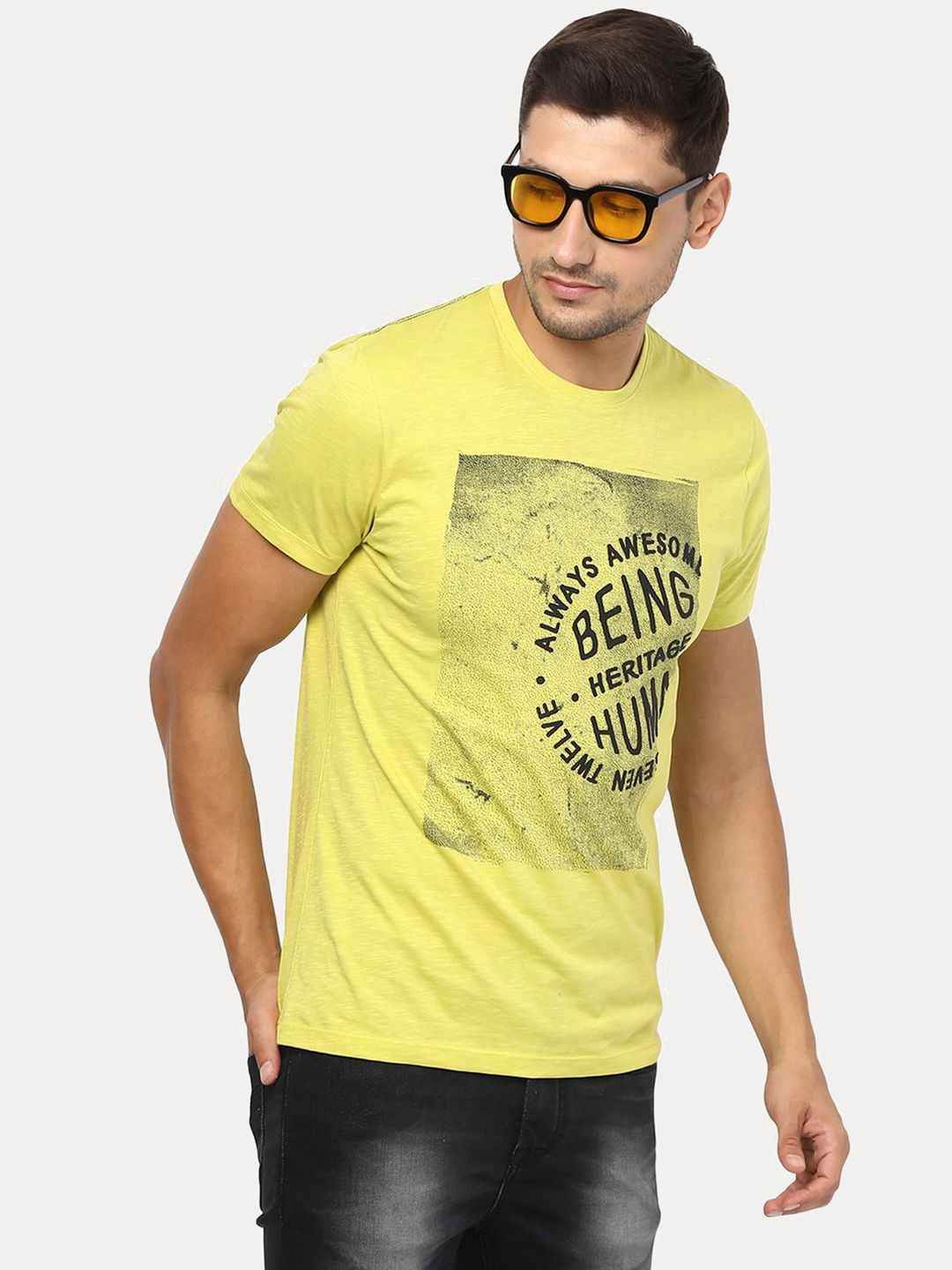 ACID YELLOW PRINTED T-SHIRT