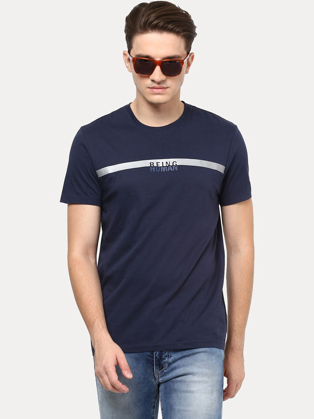 MOOD NAVY SOLID T-SHIRT