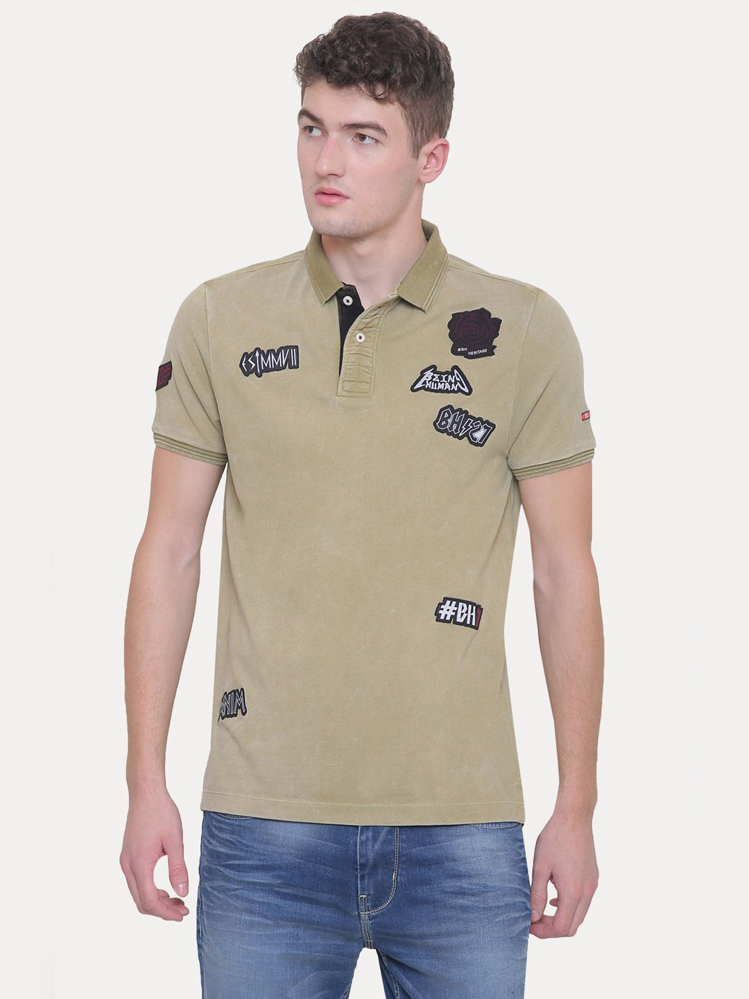 OLIVE PRINTED POLO T-SHIRT