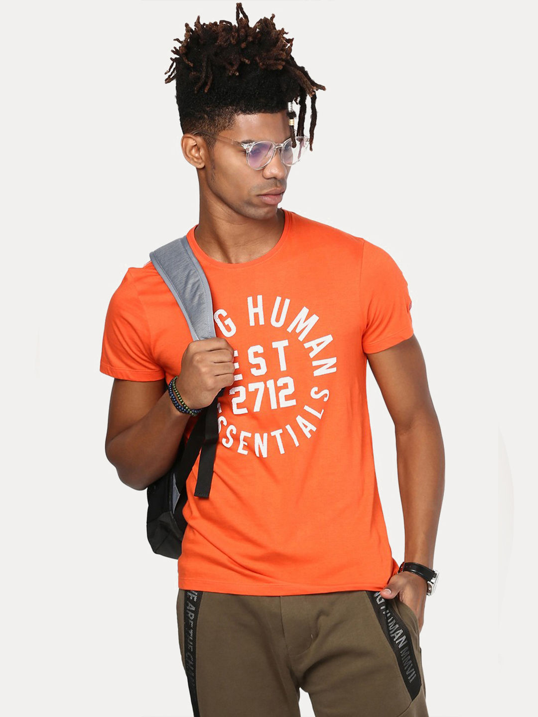 FLAME ORANGE PRINTED T-SHIRT