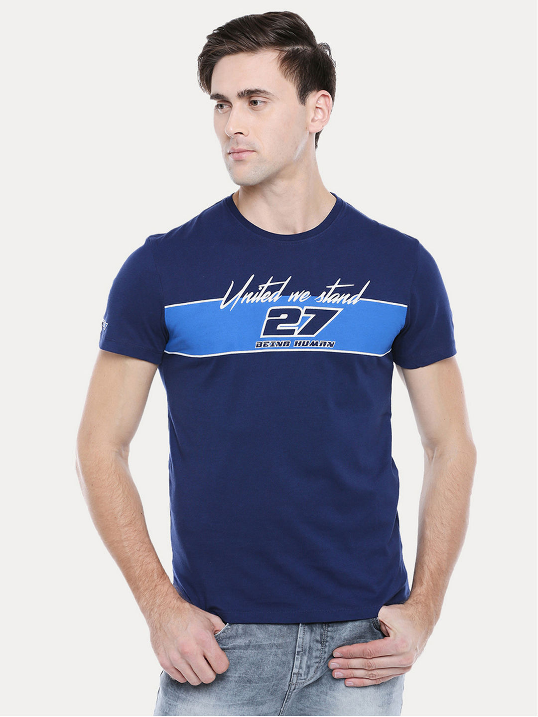 DARK BLUE PRINTED T-SHIRT