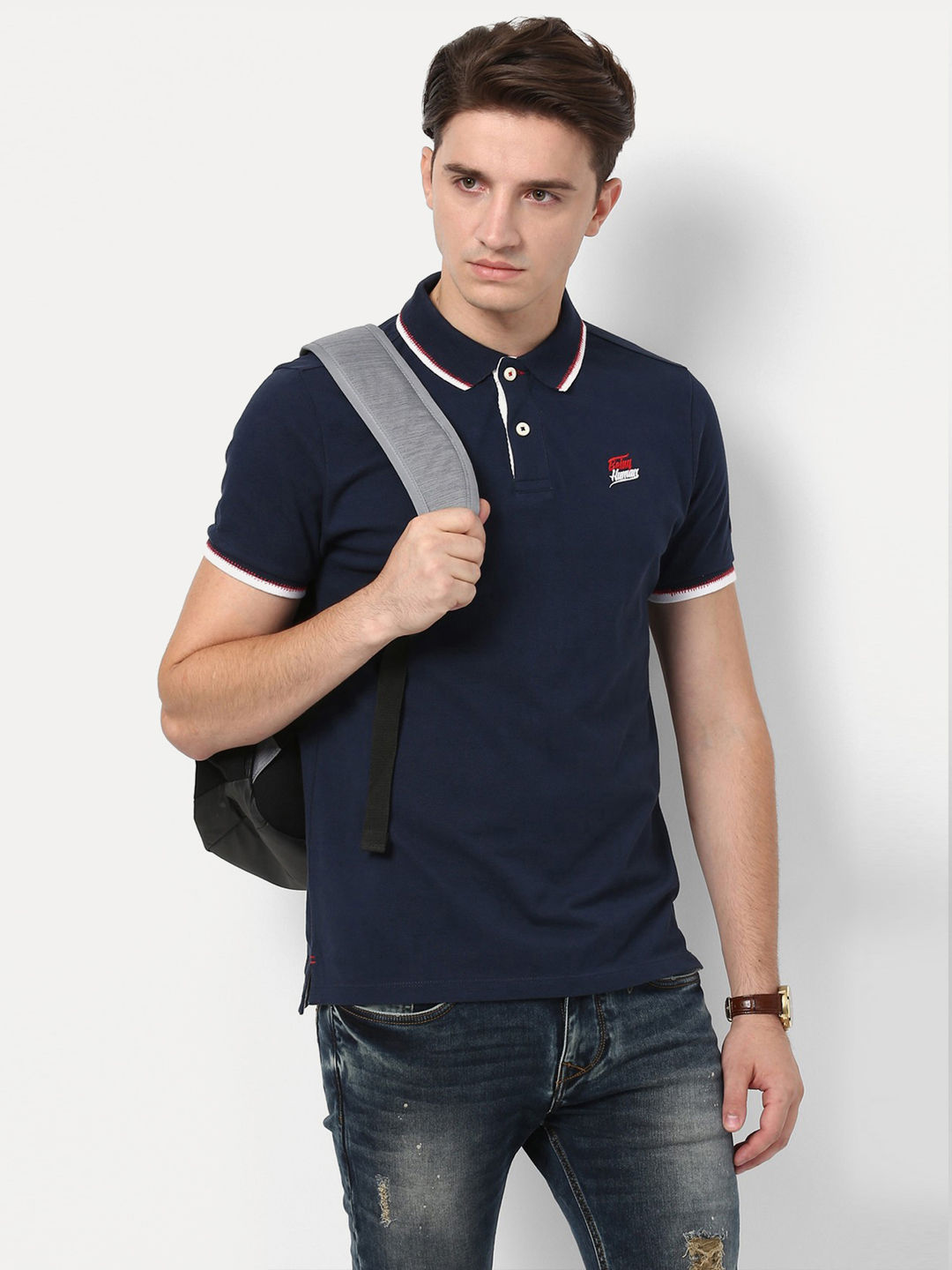 DARK NAVY SOLID POLO T-SHIRT