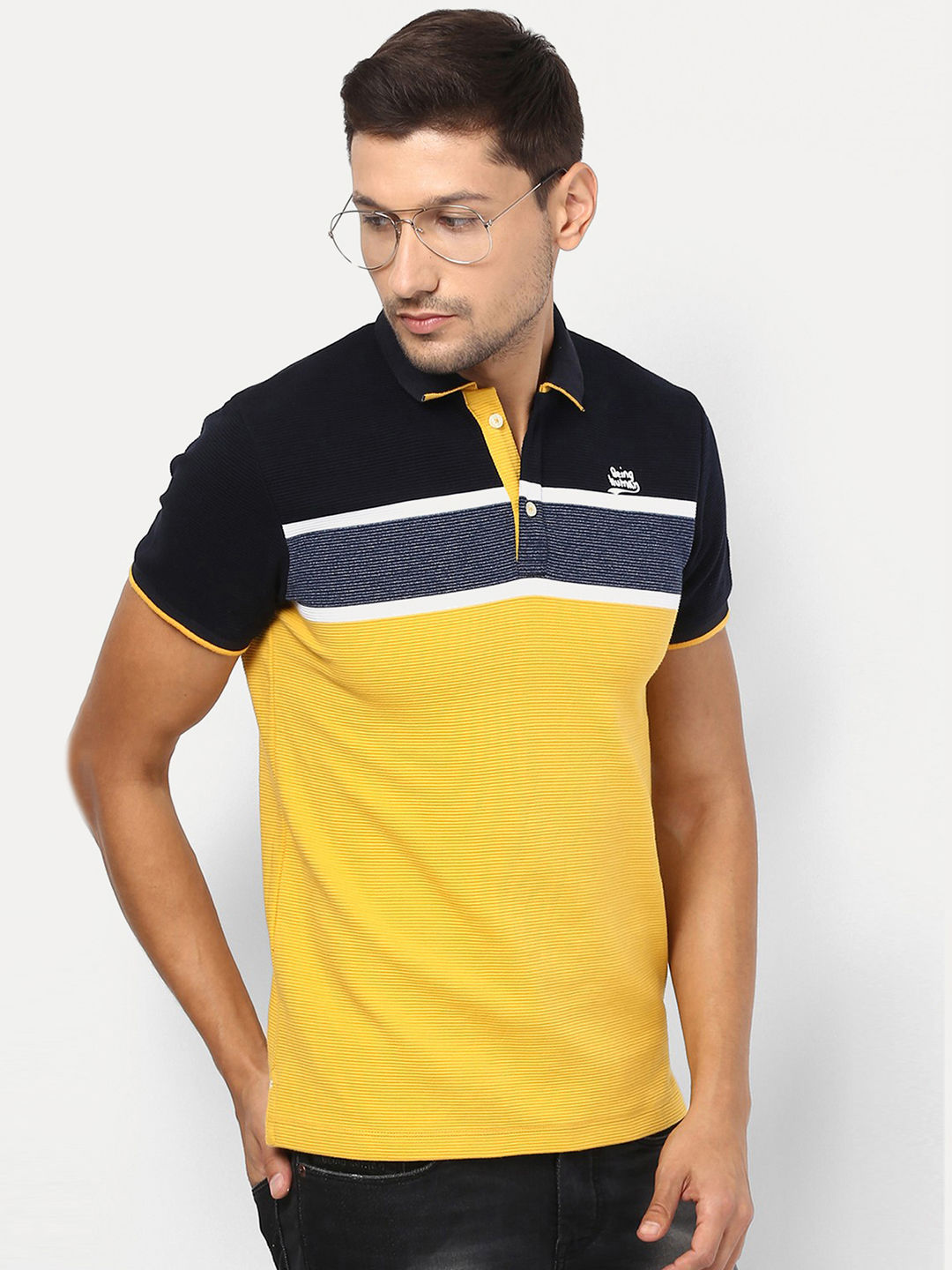 NAVY AND YELLOW COLOURBLOCK POLO T-SHIRT