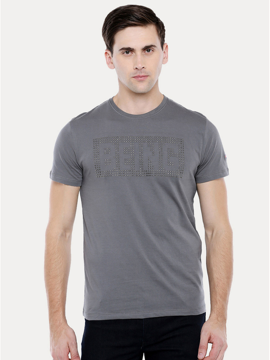 STEEL GREY PRINTED T-SHIRT