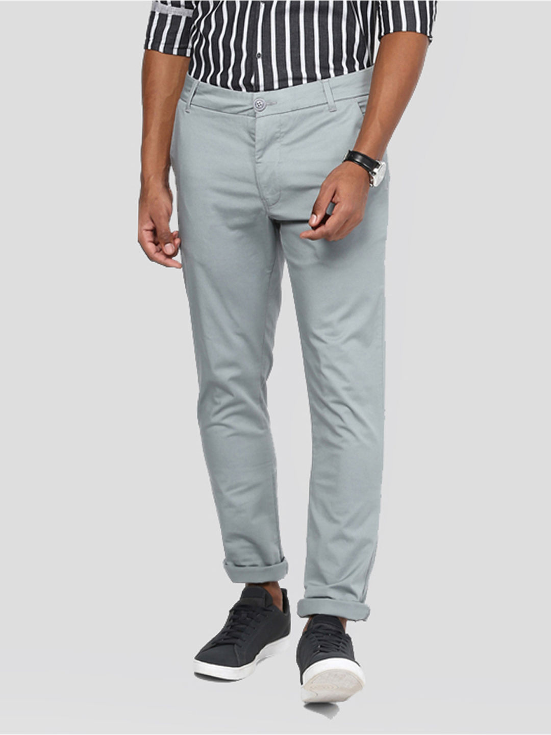 GREY SOLID STRAIGHT CHINOS