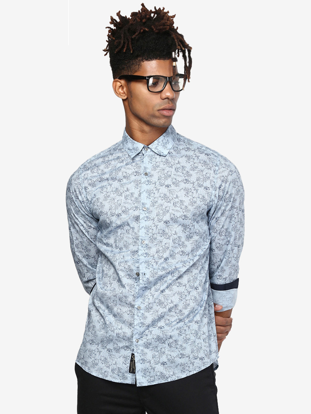 SKY BLUE PRINTED CASUAL SHIRT