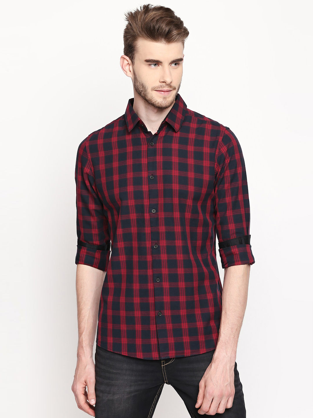 BLACK AND PINK CHECKED CASUAL SHIRT