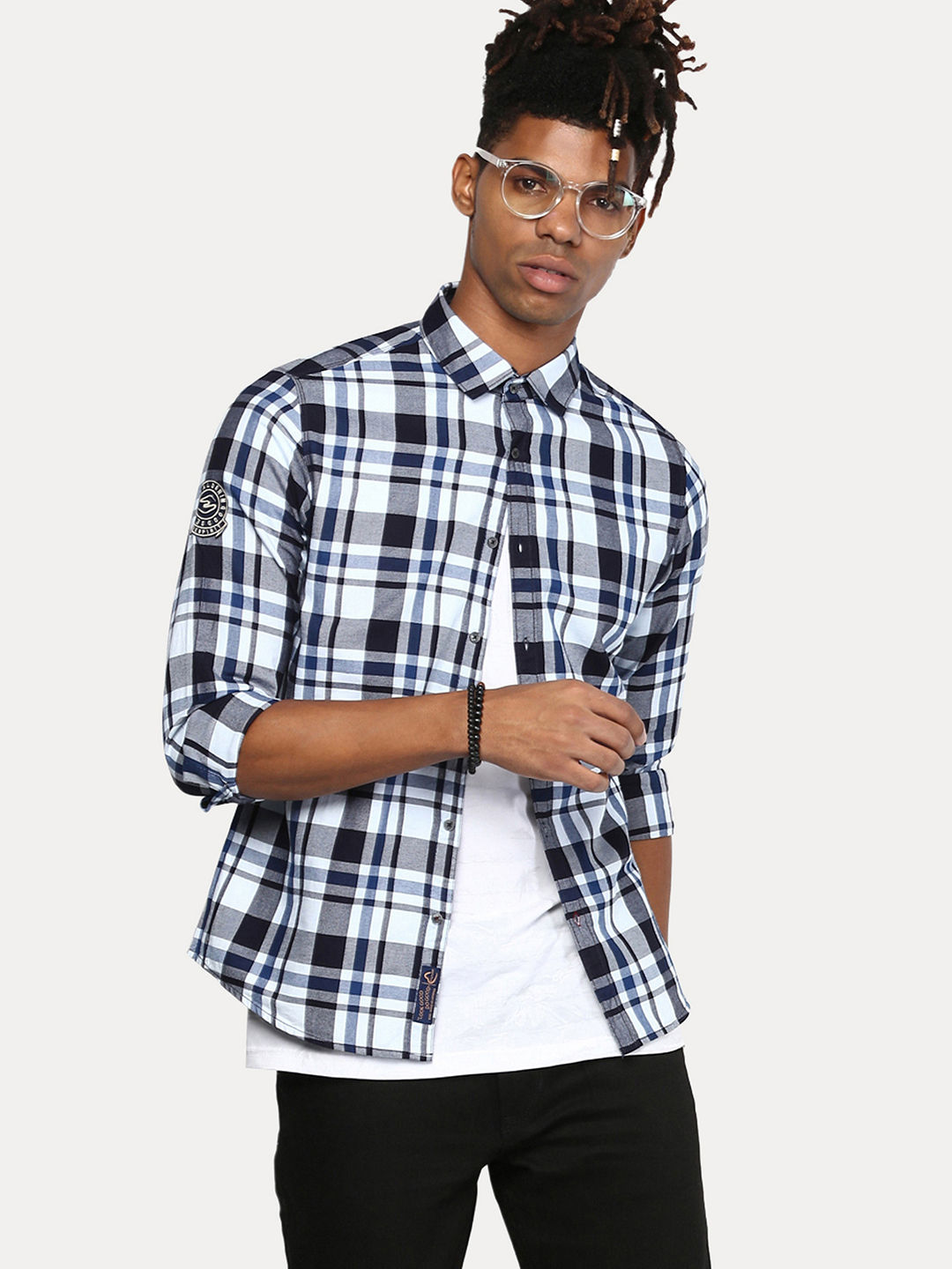 WHITE AND BLUE CHECKED CASUAL SHIRT