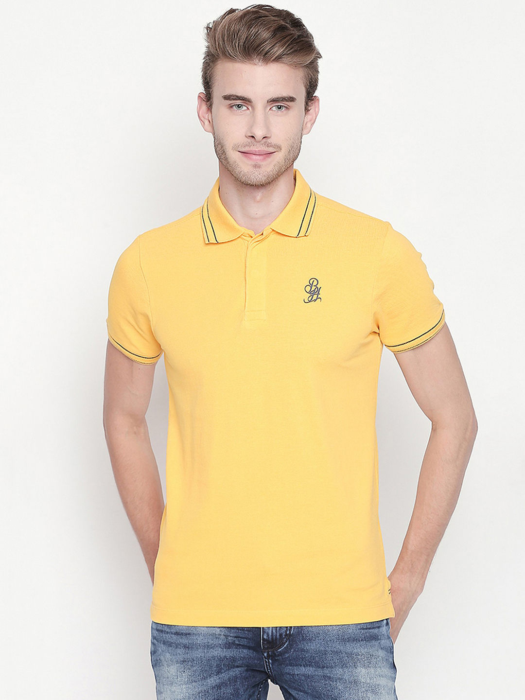 YELLOW SOLID POLO T-SHIRT