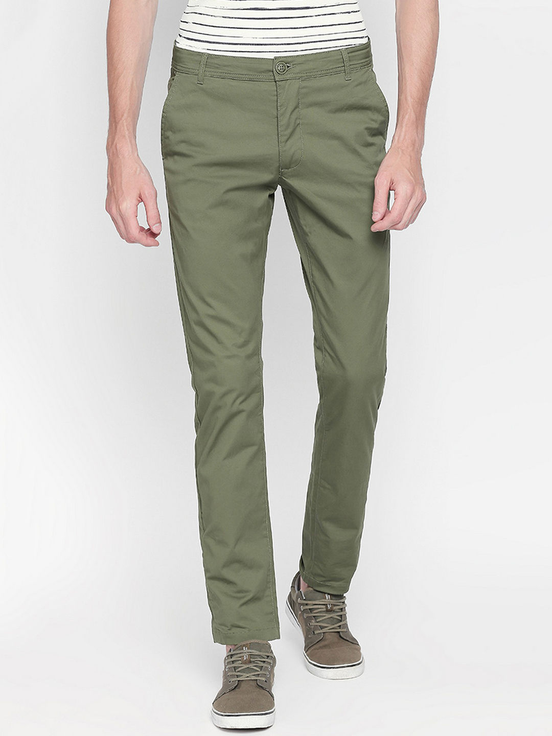 GREEN SOLID STRAIGHT CHINOS