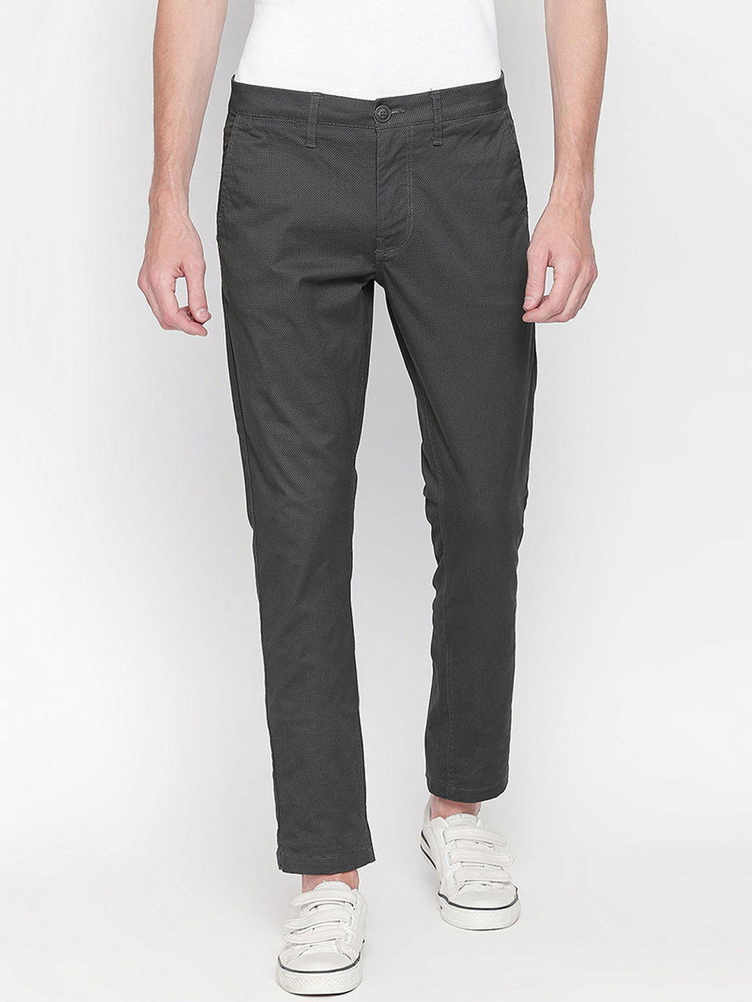 CHARCOAL SOLID STRAIGHT CHINOS