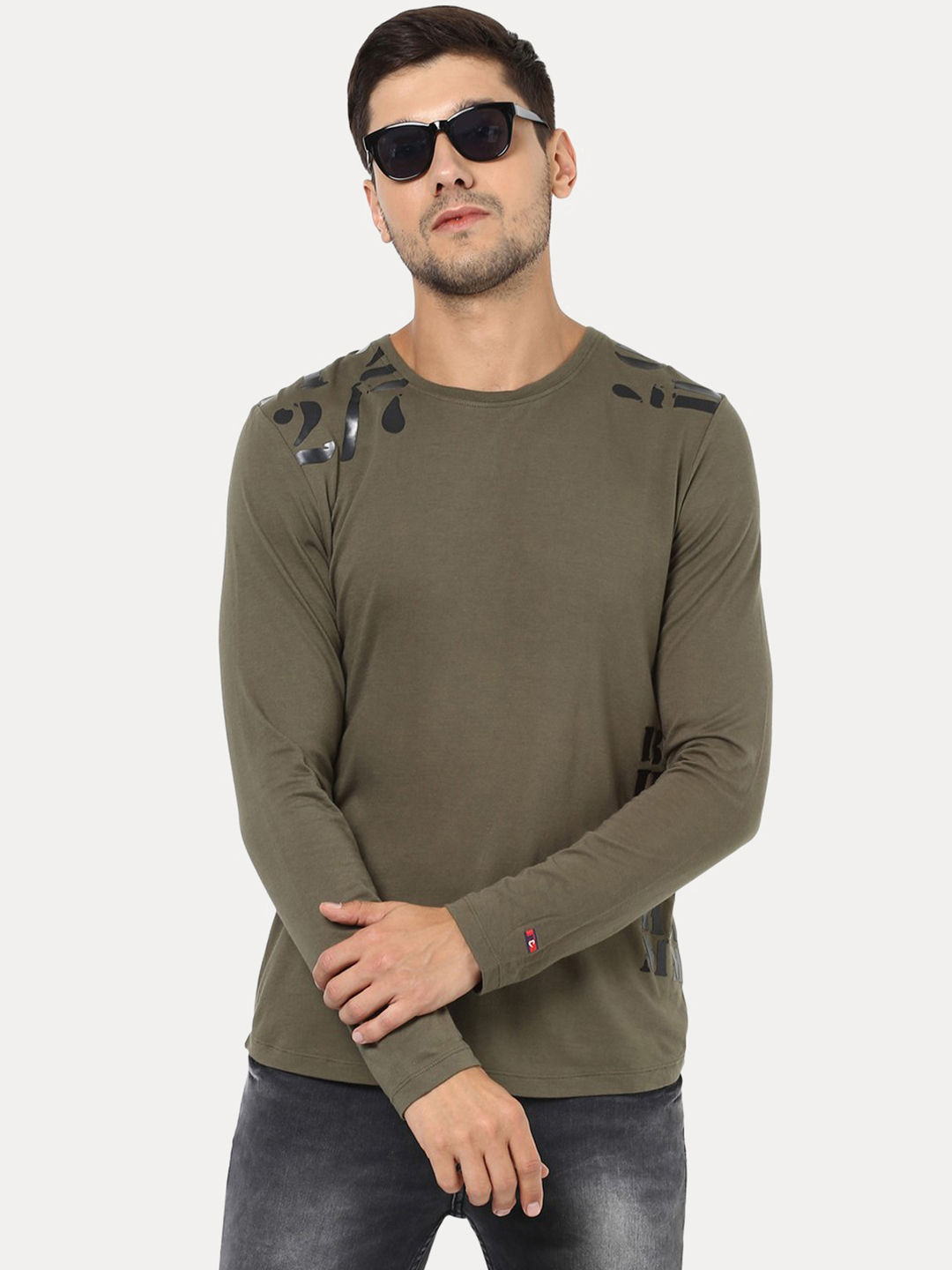 24902a83c155 ARMY GREEN SOLID T-SHIRT