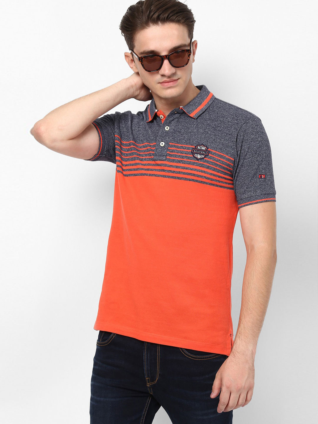 ORANGE COLOURBLOCK POLO T-SHIRT