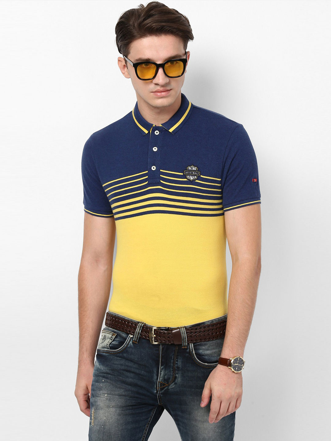 YELLOW COLOURBLOCK POLO T-SHIRT